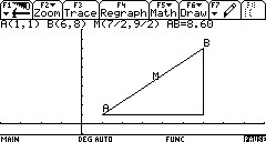 Plot Distance, Slope, Midpoint using the TI89 calculator